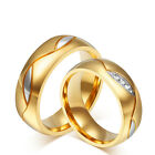 Alisouy CZ Gold Plated Couple Rings Men/Women's Titanium Steel Wedding Band Ring