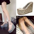 Ladies Crystal Clear Shiny Sequins High Platform Wedge Heel Slippers Mules Shoes