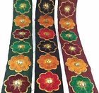 Indian Ethnic Multicolor Embroidered sequin Trim Ribbon Sari Border Lace 1 Yard