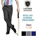 Age 1-8 Boys Pull Up School Trousers Elasticated Black Grey Navy Teflon