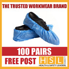 100 PAIRS x DISPOSABLE OVERSHOES, WATERPROOF SHOE COVERS PROTECTORS BLUE CE
