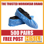 500 PAIRS x DISPOSABLE OVERSHOES, WATERPROOF SHOE COVERS PROTECTORS BLUE CE