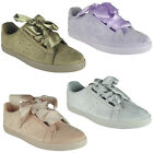 New Womens Ladies Trainers Ribbon Lace Up Slip On Flat Sneakers Pumps Shoes Size