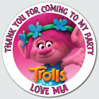 Personalised Custom Shiny Gloss Trolls Birthday Stickers Party Bag Thank You