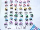 Pack of 6 x 10mm WIGGLY EYES for Craft Scrapbooking White Yellow Pink Red Green