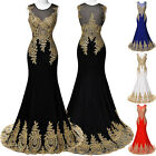 New Long Applique Mermaid Gold Lace Prom Dresses Formal Ccocktail Evening Dress