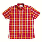 Mens Brutus Greatfit Brick Red/Yellow Tartan Short Sleeve Shirt