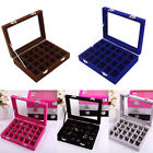 Top Velvet Glass Jewelry  Ring Earrings Display Organizer Tray Box Necklace Case