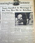 1962 newspapers JAMES MEREDITH 1st NEGRO admitted OLE MISS UNIVERSITY Oxford MS