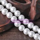 4mm 6mm 8mm 10mm 12mm Pure White Glass Pearls Round Loose Spacer Beads Lot Bulk