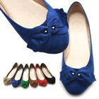 ollio Womens Ballet Flats Loafers Faux-Suede Ribbon Accent Bowed Multi Colored