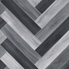 FTW Herringbone VINYL FLOORING Ash Grey White Wood Effect Kitchen Bathroom Lino