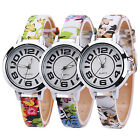 Girl's Big Number Dial Fine Faux Leather Floral Band Quartz Wrist Watch Charm
