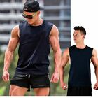 Men's Black Cotton Vests Gym Top Cool Sleeveless Summer T-Shirt 4Sizes