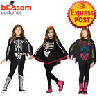 CK956 Girls Day of the Dead Poncho Skeleton Halloween Cape Costume Sugar Skull