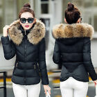 New Winter Coats Womens Cotton Wool Fur Collar Hooded Fashion Short Down Jackets