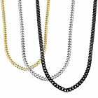 Stainless Steel Necklace Chain 3.5mm 3 Piece Gold Silver Black 16 to 30 Inchs