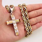 Silver Gold Mens Byzantine Chain Crystal Cross Pendant Necklace Fashion Jewelry