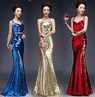 Women Sequins Evening New Prom Party Dress Strap Formal Ball Gown fishtail skirt