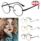 Fashion Unisex Big Round Metal Frame Clear lens Vintage Retro Geek Glasses Specs