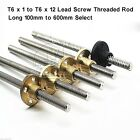 T6 x 1 to T6 x 12 Lead Screw Threaded Rod 6mm Trapezoidal ACME Stepper 100-600mm