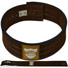 AQWA Power Weight Lifting Leather Lever Pro Belt Gym Training Straps Brown