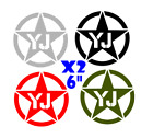 "YJ Jeep  Army military star X2 6"" decal  sticker jk cj yj tj wrangler ANY COLOR"
