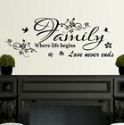 Wall Stickers Quotes Family where life begins Home Art Decor SVIL111
