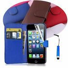 Wallet Flip Leather Stand  Full Case Cover With Protector Film +Pen For iPhone z