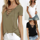 Summer Womens V Neck Lace Up T-Shirt Short Sleeve Loose Tops Casual Blouse S0
