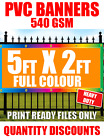 HEAVY DUTY 5FT X 2FT PVC VINYL BANNER SIGN, SHOP SIGNAGE, ADVERTISING, OUTDOOR