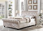 2017 KINGSIZE 5FT CHESTERFIELD SLEIGH DESIGNER BED IN CHAMPAGNE CRUSHED VELVET