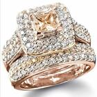 2PC Princess Cut Champagne CZ Rose Gold Plated Bridal Ring Set J856