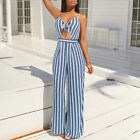 Women Sexy Hollow Striped High Waist Slip Jumpsuit Wide Leg Long Pants Playsuit