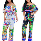 New Women Sexy Ruffle Off Shoulder High Waist Printed Wide Leg Jumpsuit Playsuit