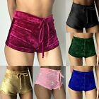 Women Elastic Crushed Velvet High Waisted Sports Hot Pants Shorts Ladies Bottoms