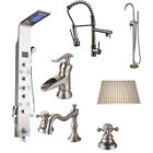 Brushed Nickel Kitchen Faucet Basin Sink Tap Shower Panel With Massage Jets