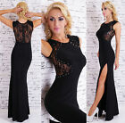 Womens Black Lace Formal Royal Made Evening Party Long Maxi Dress Size 8