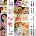 Women Beauty Gold/Silver Plated Crystal Dangle Hook Earrings Ear Stud Lot