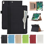 """For iPad 9.7"""" 2017 / Air 2 Luxury Leather Smart Wallet Case Stand Magnetic Cover"""