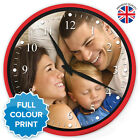 X-Large Personalised Custom Round Photo Wall Clock | Red & Glass | 35.5cm