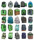 minecraft lunch box - MINECRAFT Backpack or Lunch Box Creeper Green Pickaxe Mini Grey Diamond Enemy