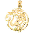 14K Gold Tropical Fish And Coral Pendant (Yellow, White or Rose) - AZ710-14K
