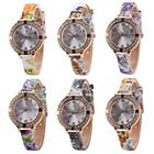 Vogue PU Leather Women Watch Butterfly Crystal Dial Analog Quartz Wristwatch