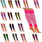 Neon Striped Knitted Leg Warmers Womens LegWarmers Dance Party Fancy Dress Party