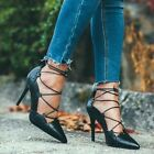Zara Black Leather Lace-up High Heel Shoes With Perforated Detail Size Uk 4, 6