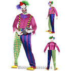 CL925 Kolouful Killer Klown Clown Horror Halloween Mens Scary Circus Costume
