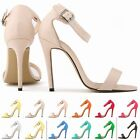 WOMENS LADIES STILETTO STRAPPY HIGH HEEL SANDALS ANKLE STRAP CUFF PEEP TOE SHOES