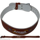 """AQWA Weight Lifting 4"""" Leather Belt Fitness Back Support Gym Training, Brown"""