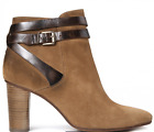 H by Hudson Tan Mirla Heeled Suede Leather Buckle Ankle Boots Size 6 39 New